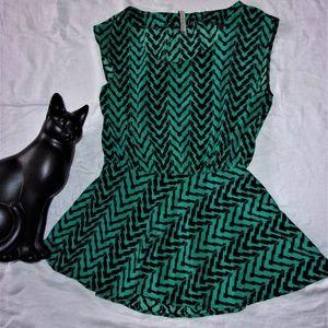 Anthro green black tunic top womans  Medium dress